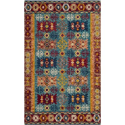 Bobigny Hand-Tufted Blue/Red Area Rug Rug Size: Rectangle 5 x 8