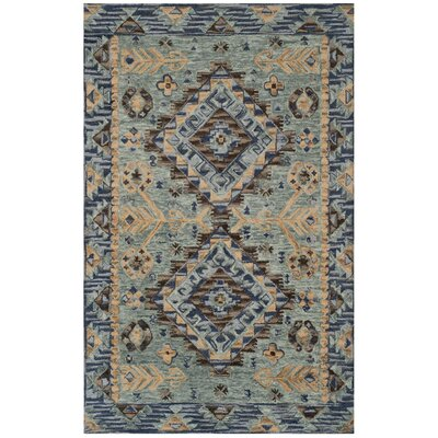 Bobigny Southwestern Hand-Tufted Blue Area Rug Rug Size: Rectangle 5 x 8