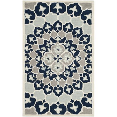 Bellagio Hand-Tufted Wool Blue/Ivory Area Rug Rug Size: Round 5