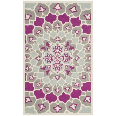 Bellagio Hand-Tufted Gray/Ivory Area Rug Rug Size: 3 x 5