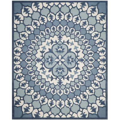Blokzijl Hand-Tufted Ivory/Blue Indoor Area Rug Rug Size: Rectangle 5 x 8