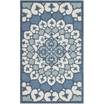Blokzijl Hand-Tufted Wool Ivory/Blue Area Rug Rug Size: Rectangle 3 X 5