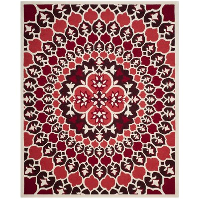 Bellagio Hand-Tufted Red/Ivory Area Rug Rug Size: 5 x 8