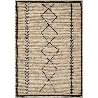 Pace Hand-Woven Ivory/Black Area Rug Rug Size: Rectangle 5 x 8