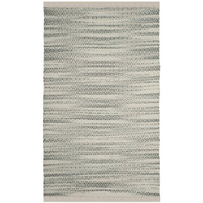 Redbrook  Hand-Tufted Gray/Ivory Area Rug Rug Size: Square 6