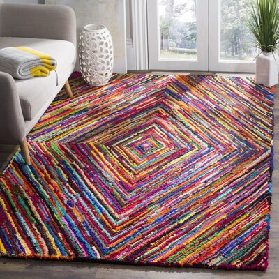 Celise Hand-Tufted Pink/Blue/Yellow Area Rug Rug Size: Rectangle 5 x 8