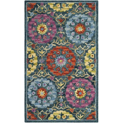 Suzani Hand-Hooked Blue/Yellow Area Rug Rug Size: 8 x 10