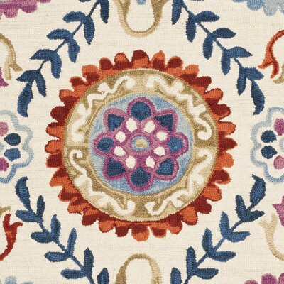 Suzani Hand-Hooked Ivory/Blue Area Rug Rug Size: Rectangle 8 x 10