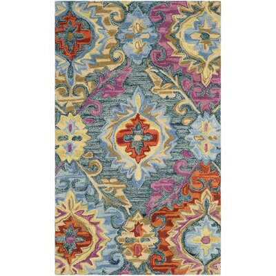 Tomo Hand-Hooked Blue/Yellow Area Rug Rug Size: 3 x 5