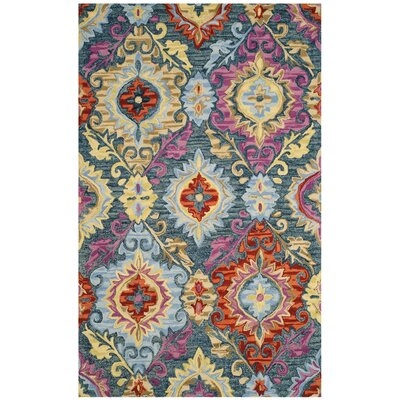 Tomo Hand-Hooked Blue/Yellow Area Rug Rug Size: 5 x 8