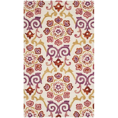 Tomo Hand-Hooked Ivory/Rust Area Rug Rug Size: 3 x 5