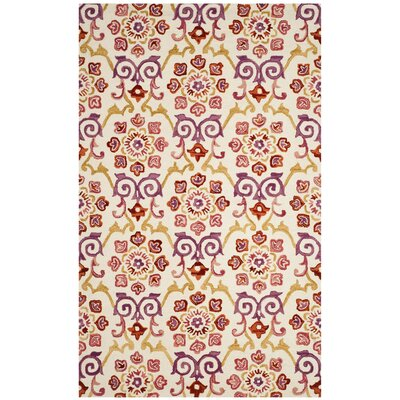 Tomo Hand-Hooked Ivory/Rust Area Rug Rug Size: Rectangle 3' x 5'