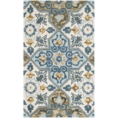 Tomo Hand-Hooked Ivory/Blue Area Rug Rug Size: 3 x 5
