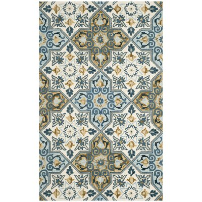Tomo Hand-Hooked Ivory/Blue Area Rug Rug Size: Rectangle 5 x 8