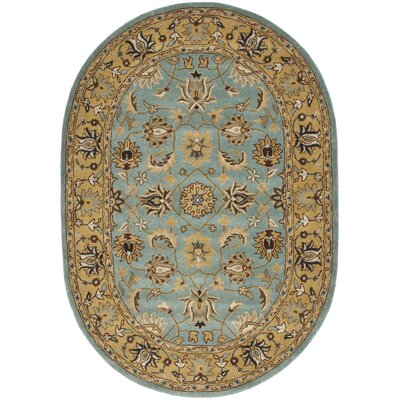 Cardwell Hand-Tufted Blue/Beige Area Rug Rug Size: Oval 76 x 96