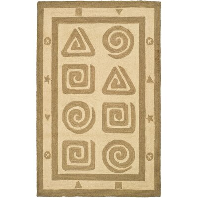 Bridges Hand-Hooked Wool Beige Area Rug Rug Size: Rectangle 26 x 4