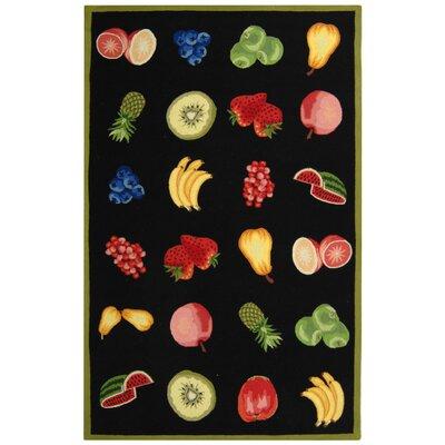 Chelsea Black Savoy Fruit Rug Rug Size: 53 x 83