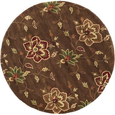 Jardin Brown/Multi Area Rug Rug Size: Round 6'