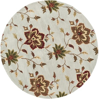 Jardin Light Blue/Multi Area Rug Rug Size: Round 6