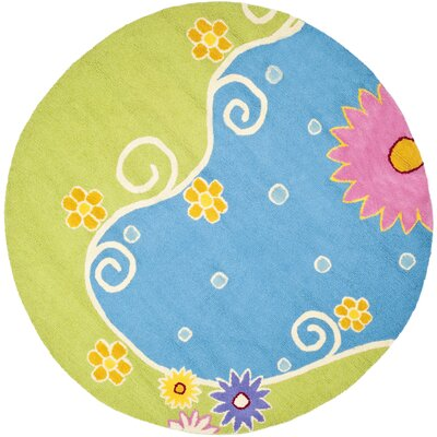 Claro Blue/Green Floral Area Rug Rug Size: Round 6
