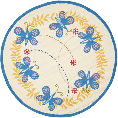 Claro Butterfly Area Rug Rug Size: Round 6