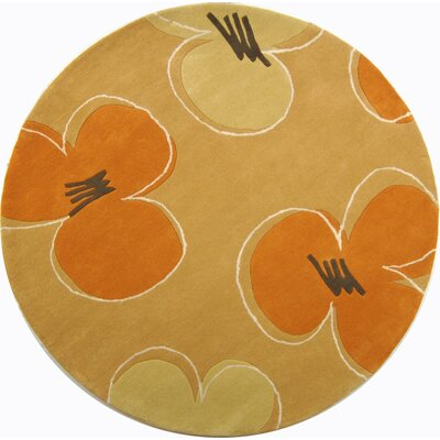 Chidi Hand-Tufted Gold / Assorted Area Rug Rug Size: Round 6