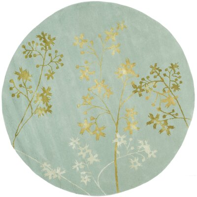 Soho Light Blue Area Rug Rug Size: Round 8