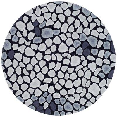 Soho Grey & Ivory Area Rug Rug Size: Round 6