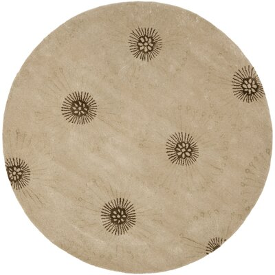 Soho Beige/Brown Area Rug Rug Size: Round 6