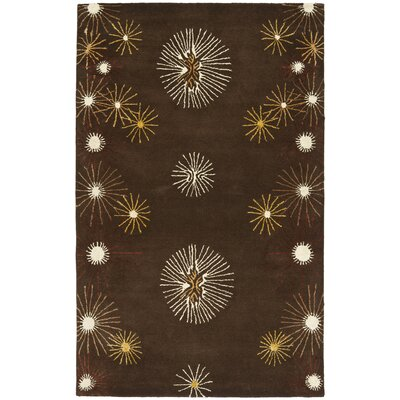 Soho Dark Brown/Beige Rug Rug Size: 76 x 96