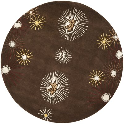 Soho Dark Brown/Beige Rug Rug Size: Round 6