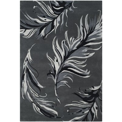 White Bird Gray Area Rug Rug Size: Rectangle 6 x 9