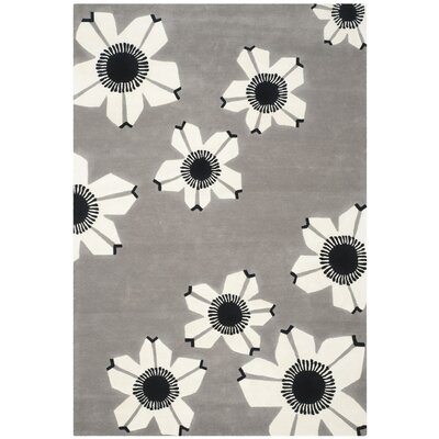 Minden Daisy Hand-Tufted Wool Gray Area Rug