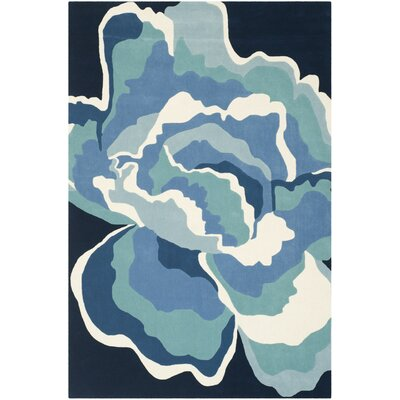 Minden Gardenia Hand-Tufted Wool Blue Area Rug