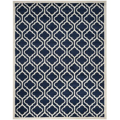 Carman Navy/Beige Indoor/Outdoor Area Rug Rug Size: Square 7