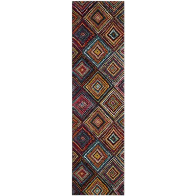Miley Brown/Red Area Rug Rug Size: Runner 22 x 8