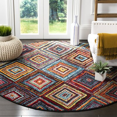 Miley Brown/Red Area Rug Rug Size: Round 67