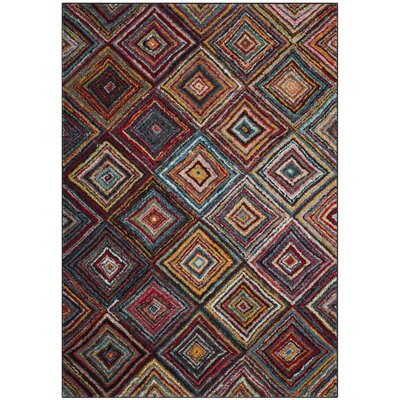 Miley Brown/Red Area Rug Rug Size: Square 67