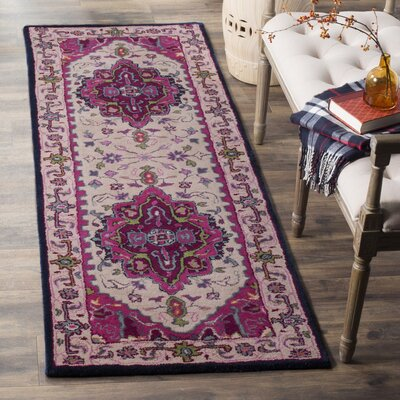 Blokzijl Hand-Tufted Wool Purple Area Rug Rug Size: Runner 23 x 11