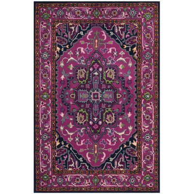 Blokzijl Hand-Tufted Wool Pink/Navy Area Rug Rug Size: Rectangle 2 x 3