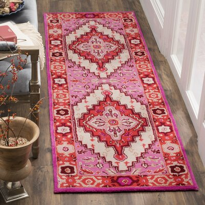 Blokzijl Hand-Tufted Wool Red Area Rug Rug Size: Runner 23 x 9