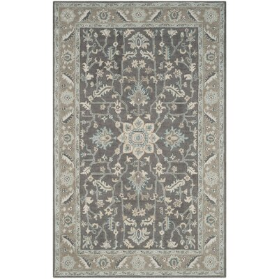 Kilbourne Hand-Tufted Wool Dark Gray Area Rug Rug Size: 6 x 9
