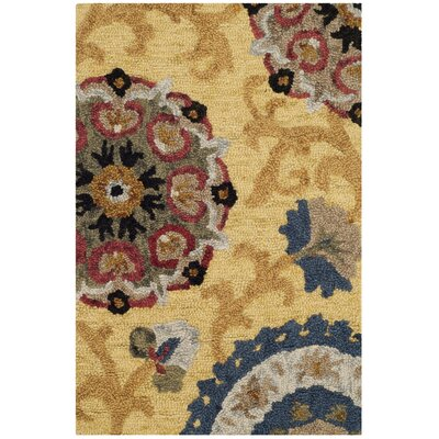 Mudoch Hand-Tufted Wool Gold Area Rug Rug Size: Rectangle 2 x 3