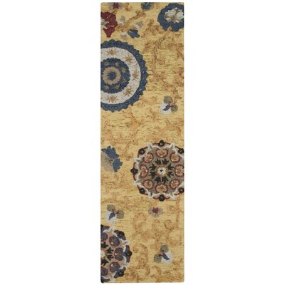 Mudoch Hand-Tufted Wool Gold Area Rug Rug Size: Runner 23 x 10