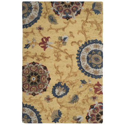 Mudoch Hand-Tufted Wool Gold Area Rug Rug Size: Square 6