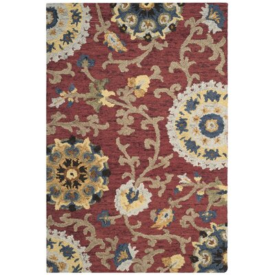 Mudoch Hand-Tufted Wool Red Area Rug Rug Size: Rectangle 2 x 3