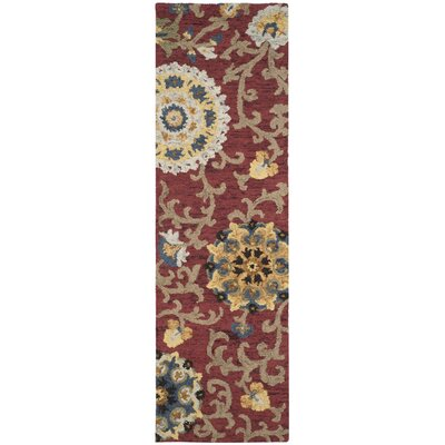 Mudoch Hand-Tufted Wool Red Area Rug Rug Size: Runner 23 x 10