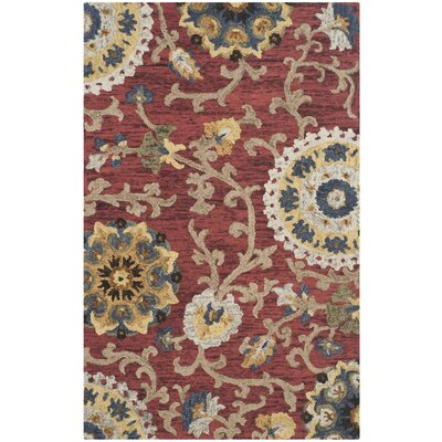 Mudoch Hand-Tufted Wool Red Area Rug Rug Size: Rectangle 6 x 9