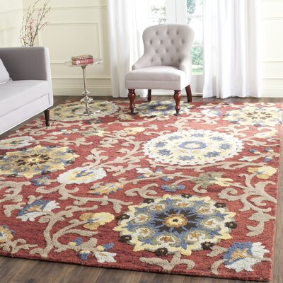 Mudoch Hand-Tufted Wool Red Area Rug Rug Size: Rectangle 89 x 12