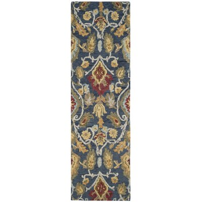 Elford Hand-Tufted Wool Blue/Red/Green Area Rug Rug Size: Runner 23 x 10